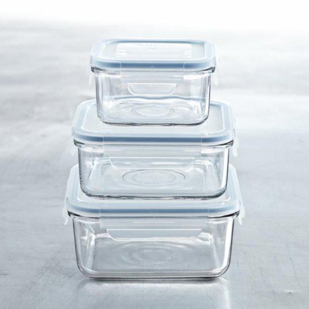 glasslock glasbeholdere - sæt med 3 firkantede